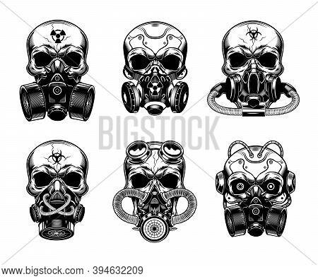 Skulls In Respirator Vector Illustrations Set. Head Of Skeleton In Various Gas Masks. Danger Or Bioh