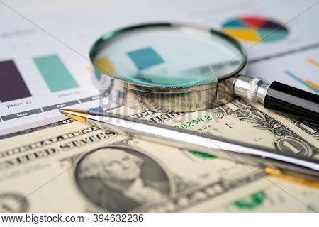 Magnifying Glass And Us Dollar Banknotes Background, Banking Account, Investment Analytic Research D