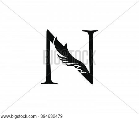 Classic N Letter Logo. Black Floral N With Classy Leaves Shape Design Perfect For Boutique, Jewelry,
