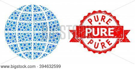 Vector Collage Globe Of Sars Virus, And Pure Unclean Ribbon Stamp Seal. Virus Items Inside Globe Col