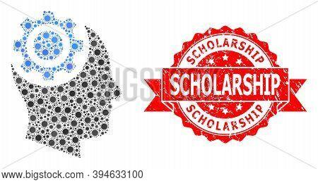 Vector Collage Human Intellect Gear Of Corona Virus, And Scholarship Grunge Ribbon Seal Print. Virus