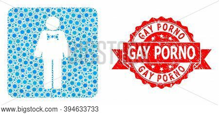 Vector Mosaic Groom Of Covid-2019 Virus, And Gay Porno Rubber Ribbon Stamp. Virus Cells Inside Groom
