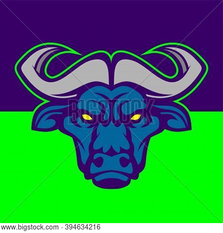 Buffalo Head. Vector Illustration For Use As Print, Poster, Sticker, Logo, Tattoo, Emblem And Other.