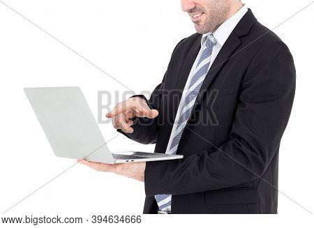 Happy Businessman And A Laptop Isolated On White Background With Clipping Path