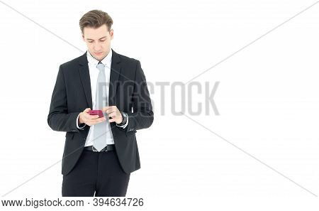Business Men Use Mobile Phones Isolated On White Background