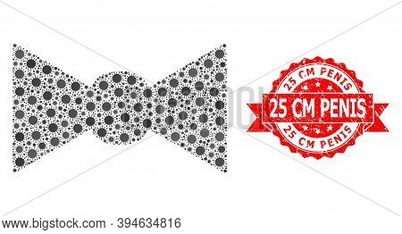 Vector Collage Bow Tie Of Corona Virus, And 25 Cm Penis Rubber Ribbon Stamp Seal. Virus Items Inside