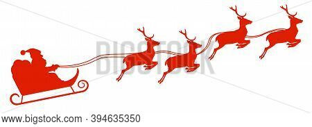 Silhouette Of Santa Claus In Sleigh Pulled By Reindeer Vector Illustration
