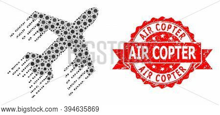 Vector Mosaic Jet Plane Of Covid-2019 Virus, And Air Copter Dirty Ribbon Seal Print. Virus Cells Ins
