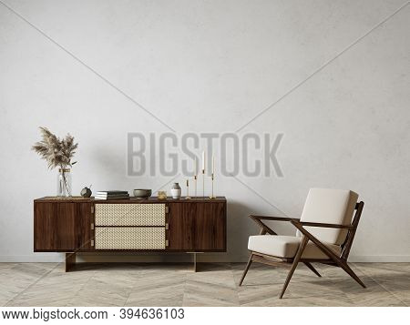 Modern Interior With Dresser And Decor. 3d Render Illustration Background Mock Up.