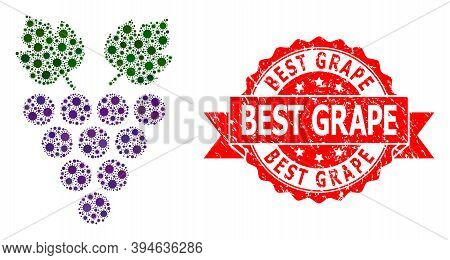 Vector Mosaic Grape Of Flu Virus, And Best Grape Unclean Ribbon Seal. Virus Particles Inside Grape M