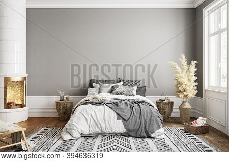 White Gray Bedroom Interior With Fireplace Carpet, Dry Plants And Decor. 3d Render Illustration Mock