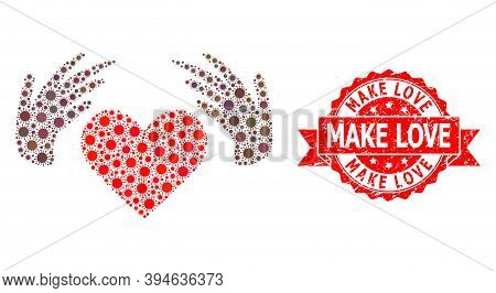 Vector Mosaic Handmade Love Of Virus, And Make Love Corroded Ribbon Seal. Virus Cells Inside Handmad