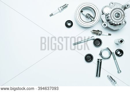 Engine Gears. Auto Motor Mechanic Spare Or Automotive Piece On White Background. Set Of New Metal Ca