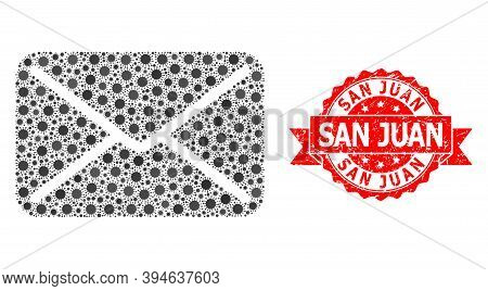 Vector Mosaic Mail Of Corona Virus, And San Juan Grunge Ribbon Stamp. Virus Elements Inside Mail Mos
