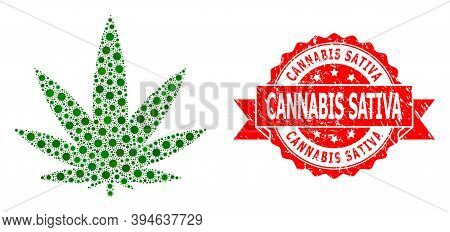 Vector Mosaic Cannabis Of Corona Virus, And Cannabis Sativa Grunge Ribbon Stamp Seal. Virus Items In