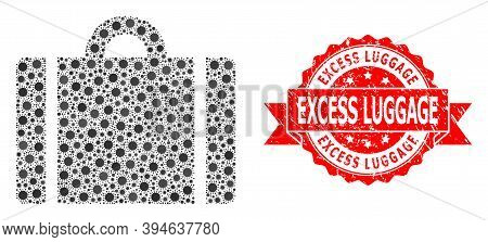 Vector Mosaic Luggage Of Flu Virus, And Excess Luggage Grunge Ribbon Stamp Seal. Virus Particles Ins