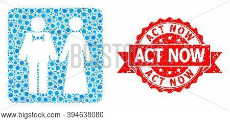 Vector Collage Just Married Persons Of Flu Virus, And Act Now Dirty Ribbon Stamp Seal. Virus Items I