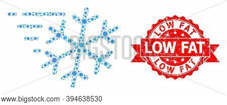 Vector Mosaic Frost Wind Of Flu Virus, And Low Fat Scratched Ribbon Seal Print. Virus Particles Insi