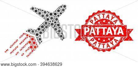 Vector Mosaic Air Liner Of Covid-2019 Virus, And Pattaya Textured Ribbon Stamp. Virus Particles Insi