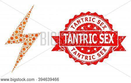Vector Mosaic Electric Strike Of Flu Virus, And Tantric Sex Grunge Ribbon Seal Imitation. Virus Elem