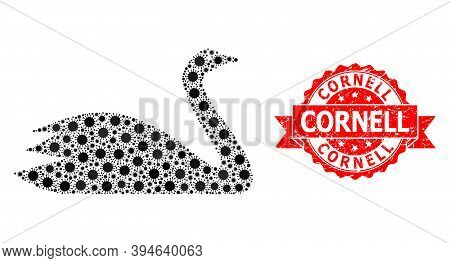 Vector Collage Goose Of Virus, And Cornell Dirty Ribbon Stamp. Virus Cells Inside Goose Mosaic. Red