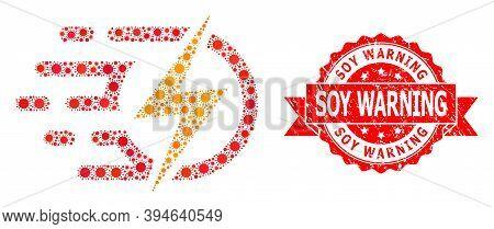 Vector Mosaic Electric Voltage Of Sars Virus, And Soy Warning Unclean Ribbon Seal Imitation. Virus E