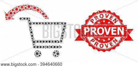 Vector Mosaic Cancel Shopping Order Of Sars Virus, And Proven Unclean Ribbon Seal Imitation. Virus I