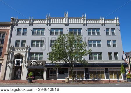 Manchester, Nh, Usa - Aug. 29, 2019: Historic Commercial Buildings On Elm Street At Stark Street In