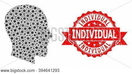 Vector Collage Gentleman Profile Of Sars Virus, And Individual Grunge Ribbon Stamp. Virus Items Insi