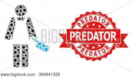 Vector Mosaic Butcher Person Of Flu Virus, And Predator Grunge Ribbon Seal Print. Virus Elements Ins
