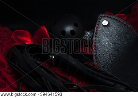 Whip / Lash, Gag  With Women's Sexy Underwear. Submission And Domination Bdsm Sex Toy Concept. The C