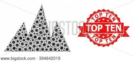 Vector Mosaic Mountains Of Covid-2019 Virus, And Top Ten Textured Ribbon Stamp Seal. Virus Items Ins