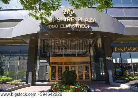 Manchester, Nh, Usa - Aug. 29, 2019: Brady Sullivan Plaza Building At 1000 Elm Street In Downtown Ma
