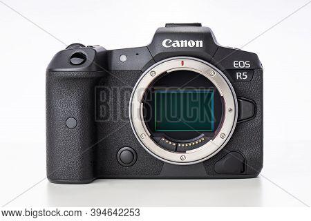 Varna, Bulgaria - November 07,2020: Image Of Canon Eos R5 Mirrorless Digital Camera With 8k Raw Vide
