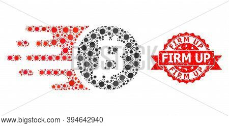 Vector Collage Bitcoin Coin Of Flu Virus, And Firm Up Dirty Ribbon Stamp. Virus Particles Inside Bit