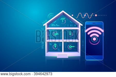 Concept Of Smart Home Or Internet Of Things (iot), Graphic Of Home Technology Interface