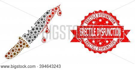 Vector Mosaic Blood Knife Of Sars Virus, And Erectile Dysfunction Scratched Ribbon Stamp Seal. Virus