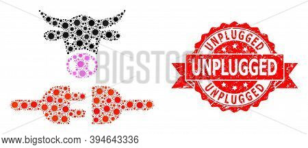 Vector Collage Farm Power Supply Of Sars Virus, And Unplugged Dirty Ribbon Stamp Seal. Virus Items I