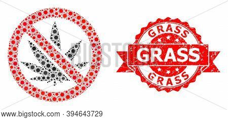 Vector Mosaic Forbidden Cannabis Of Flu Virus, And Grass Dirty Ribbon Stamp Seal. Virus Items Inside