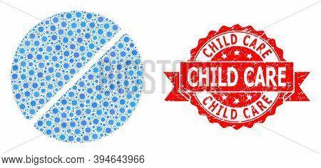 Vector Mosaic Medication Tablet Of Corona Virus, And Child Care Dirty Ribbon Stamp Seal. Virus Eleme