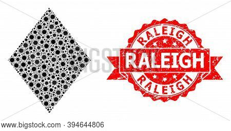 Vector Collage Filled Rhombus Of Sars Virus, And Raleigh Scratched Ribbon Stamp Seal. Virus Particle