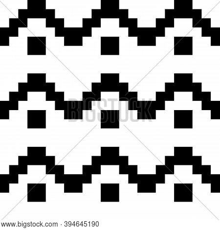 Zigzag Lines, Checks Ornament. Seamless Pattern. Jagged Stripes, Squares Motif. Waves Ornate. Curves