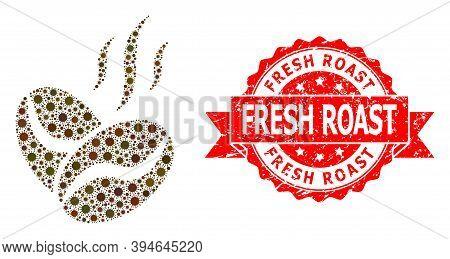 Vector Mosaic Coffee Beans Aroma Of Corona Virus, And Fresh Roast Unclean Ribbon Stamp. Virus Items