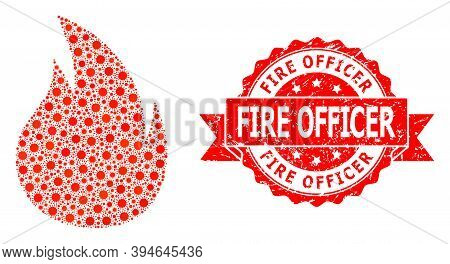 Vector Mosaic Fire Of Covid, And Fire Officer Scratched Ribbon Stamp Seal. Virus Cells Inside Fire M
