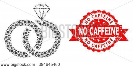 Vector Collage Jewelry Wedding Rings Of Sars Virus, And No Caffeine Scratched Ribbon Seal. Virus Ele
