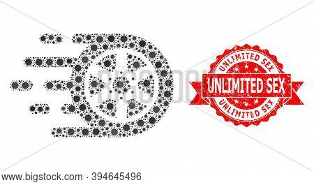 Vector Mosaic Car Wheel Of Covid-2019 Virus, And Unlimited Sex Rubber Ribbon Stamp Seal. Virus Cells