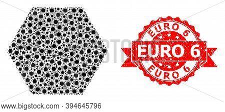 Vector Mosaic Filled Hexagon Of Covid-2019 Virus, And Euro 6 Dirty Ribbon Seal Imitation. Virus Elem
