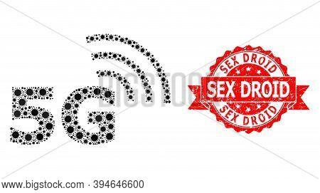 Vector Mosaic 5g Symbol Of Virus, And Sex Droid Unclean Ribbon Seal Imitation. Virus Cells Inside 5g