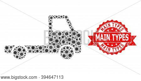 Vector Mosaic Delivery Car Chassi Of Coronavirus, And Main Types Grunge Ribbon Stamp Seal. Virus Par