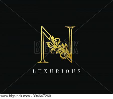 Gold Letter N Logo. N Letter Design Vector With Golden Colors And Floral Hand Drawn.